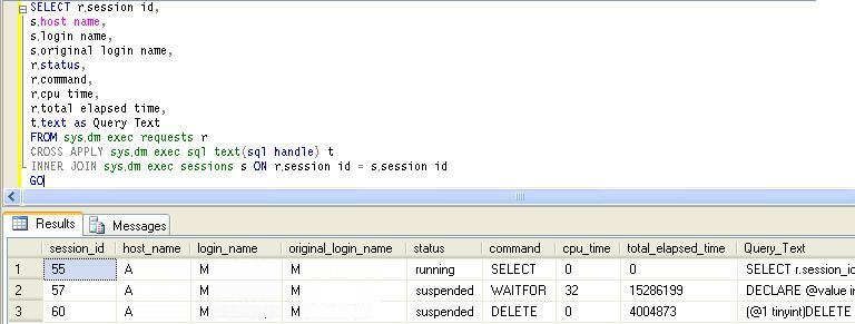 List of all currently running queries in SQL Server