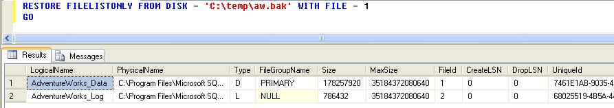 RESTORE FILELISTONLY FROM DISK command in SQL Server