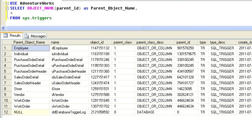 List all Triggers in a SQL Server Database