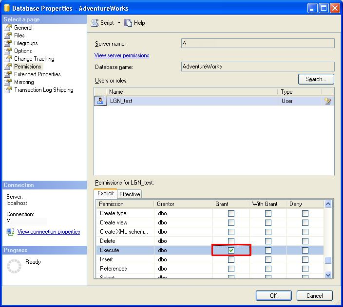 grant database permissions in ssms