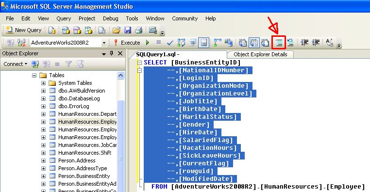 ssms_comment_code
