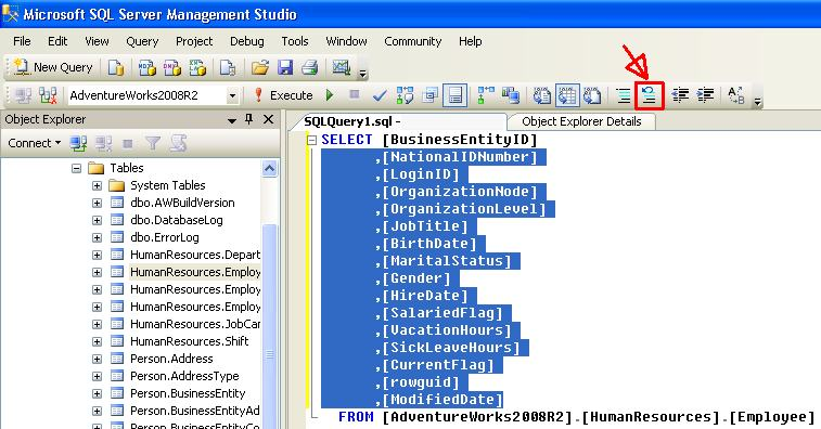 ssms_uncomment_code